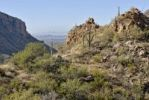 Thumbnail View from the high altitude hiking path in Sabino Canyon on parts of the city of Tucson, Arizona, USA