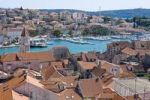 Thumbnail Overlooking the roofs of Trogir from the Campanile, bell tower of the Lawrence Cathedral towards the marina, Trogir, Northern Dalmatia, Croatia, Europe
