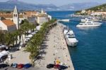 Thumbnail View on the waterfront promenade from the tower of the Karmelengo castle, Trogir, Central Dalmatia, Croatia, Europe