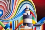 Thumbnail Colored acrylic picture of Hook's Head Lighthouse, County Wexford, Ireland, artist Gerhard Kraus, Kriftel, Germany
