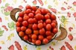"Thumbnail Tomatoes ""Pachino"" in a basket, small cherry red tomatoes from the South of Italy, Italy, Europe"
