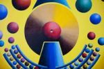 Thumbnail Planet clock throwing planets into their orbits, acrylic picture, artist Gerhard Kraus, Kriftel, Germany