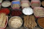 Thumbnail Market, produce for sale at a market stand, display, Chinese herbs and roots, Lijiang, Yunnan Province, People's Republic of China, Asia