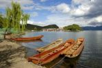 Thumbnail Wooden boats on the shore, Lige, Lugu Hu Lake, Yunnan Province, People's Republic of China, Asia