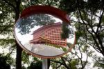 Thumbnail Reflection of an Asian luxury hotel in a driving mirror, Taiwan, Taipei, China, Asia