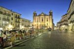 Thumbnail Praca do Giraldo square with the church Igreja de Sao Antao and outdoor cafe at night, Evora, UNESCO World Heritage Site, Alentejo, Portugal, Europe