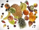 Thumbnail Flying fruit, pineapple, orange, apple, bananas, blackberries, kiwis, grapes, currants, strawberries, persimmon, pear, blueberries, lychee, cherries, peach, kumquat, physalis