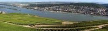 Thumbnail Panoramic view from the Niederwalddenkmal monument over the vineyards in Ruedesheim, the city of Bingen and Inselrhein region, UNESCO World Heritage Mittelrheintal Middle Rhine Valley, Rhineland-P