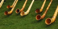 Thumbnail Swiss Alphorns at a Swiss folk festival, Valais, Switzerland, Europe