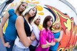 Thumbnail Group of adolescent girls in front of a graffiti wall