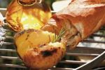 Thumbnail Grill potato on charcoal barbecue with rosemary, bread and olive oil, exterior