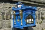 Thumbnail historic blue letter box, Luettringhausen, Remscheid, Bergisches Land, North Rhine Westphalia, Germany
