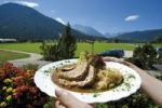 Thumbnail Roast pork with sauerkraut, snack, lunch, travel, vacation, Berchtesgadener Land area, Alps, Upper Bavaria, Bavaria, Germany, Europe