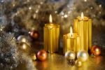 Thumbnail Burning golden candles with baubles for the Christmas tree