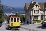 Thumbnail Cable Car and Victorian mansion in Hyde Street, corner Francisco Street, view of Alcatraz, San Francisco, California, USA