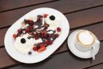 Thumbnail Pancakes with berries and cream, cappuccino, Burgenland, Austria, Europe
