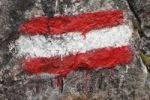 Thumbnail Trail marker in the Austrian national colors, Carinthia, Austria, Europe