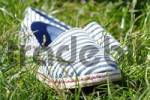 Thumbnail striped cloth shoes in grass