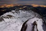 Thumbnail View from Mt. Saentis at full moon into the valley, chalet in the moon light, Canton Appenzell, Switzerland, Europe