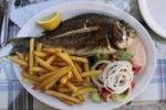 Thumbnail Fish platter with tzatziki, Greek salad and fries, Crete, Greece, Europe