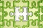 Thumbnail White jigsaw puzzle piece integrated into green pieces