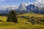 Thumbnail View over the Seiser Alm mountain pasture on Mt. Sassolungo and Mt. Sasso Piatto, Dolomites, South Tyrol, Italy, Europe