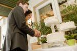 Thumbnail Wedding couple cutting their wedding cake