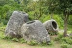 Thumbnail Archeology, three ancient stone jars, Jar Site 2, Hai Hin Phu Salato, Plain of Jars, near Phonsavan, Xieng Khouang province, Laos, Southeast Asia, Asia