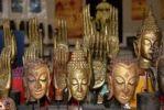 Thumbnail Souvenirs, masks, Buddhas, face, hand, Vientiane, Laos, Southeast Asia, Asia