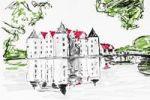 Thumbnail Wasserschloss Gluecksburg moated castle, drawing, artist, Gerhard Kraus, Kriftel