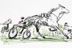 Thumbnail Trotting race, drawing, artist Gerhard Kraus, Kriftel