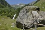 Thumbnail Memorial to Archduke Johann, in the back the waterfall of the Saeusenbach brook near the Schwarzensee, Schladminger Tauern mountains, Styria, Austria, Europe