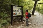 Thumbnail Woman with a backpack in front of an information panel, Velika Paklenica Canyon, Paklenica National Park, Velebit Mountains, Dalmatia, Croatia, Europe