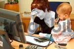 Thumbnail overcharged, working mother with child in office
