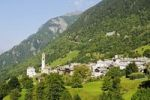 Thumbnail View of the mountain village of Soglio on the hiking trail Via Bregaglia, Bergell Valley, Val Bregaglia, Engadin, Graubuenden, Grisons, Switzerland, Europe