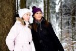 Thumbnail Two young women in a winter forest