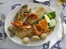 Thumbnail Mixed grill of fish with prawns, Órzola, Lanzarote, Canary Islands, Spain, Europe