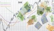 Thumbnail Rising stock index DAX, shower of money, symbolic image for a bull market in stocks, stock profits