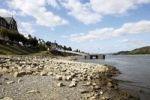 Thumbnail Low water on the Rhine river at Bad Breisig, Rhineland-Palatinate, Germany, Europe