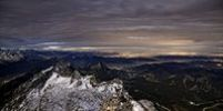 Thumbnail View from Mt. Saentis at full moon into the valley of the Appenzeller Land region towards Lake Constance, Canton Appenzell, Switzerland, Europe