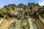 Thumbnail Statue in front of the cathedral of Santiago de Compostela, Galicia, Spain, Europe