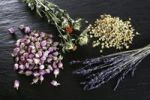 Thumbnail Dried flowers, lavender (Lavandula angustifolia), safflower (Carthamus), rose buds (Rosa) and chamomile (Matricaria chamomilla) on a slate