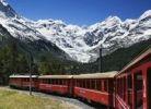 Thumbnail Rhaetian Railway Bernina Line, Vadret da Morteratsch, Morteratsch Glacier, Bernina Range, Switzerland, Europe