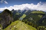 Thumbnail View from Mt. Hoher Kasten with the Saemtisersee lake and the Alpsteingebirge mountains, Bruelisau, Canton Appenzell Innerrhoden, Switzerland, Europe