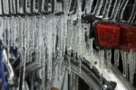 Thumbnail Freezing rain, icicles on a bike, details