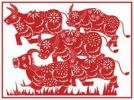 Thumbnail Illustration, Chinese paper cutting, cattle