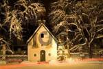 Thumbnail chapel with christmastree at dusk Upper Bavaria, Germany