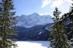 Thumbnail View over the frozen Eibsee lake on Mt. Zugspitze, Grainau, Werdenfelser Land county, Upper Bavaria, Bavaria, Germany, Europe