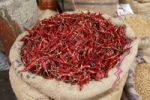 Thumbnail Bag filled with chili peppers, Devaraja Market, Mysore, Karnataka, South India, India, South Asia, Asia