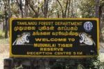 Thumbnail Sign, Welcome to Mudumalai Tiger Reserve, bilingual Tamil and English, Mudumalai National Park, Tamil Nadu, Tamilnadu, South India, India, South Asia, Asia